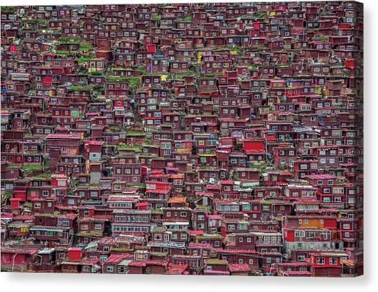 China Town Canvas Print - Larung Gar by Tianyu