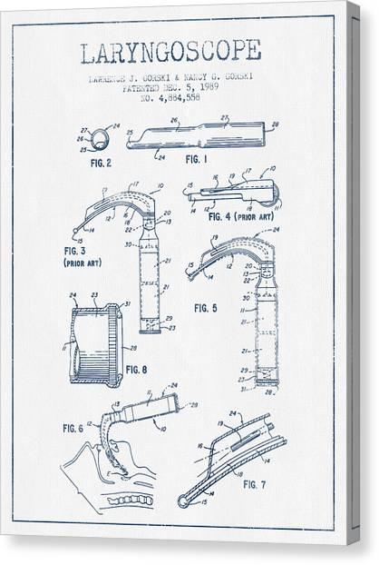 Laryngoscope Patent From 1989  - Blue Ink Canvas Print by Aged Pixel