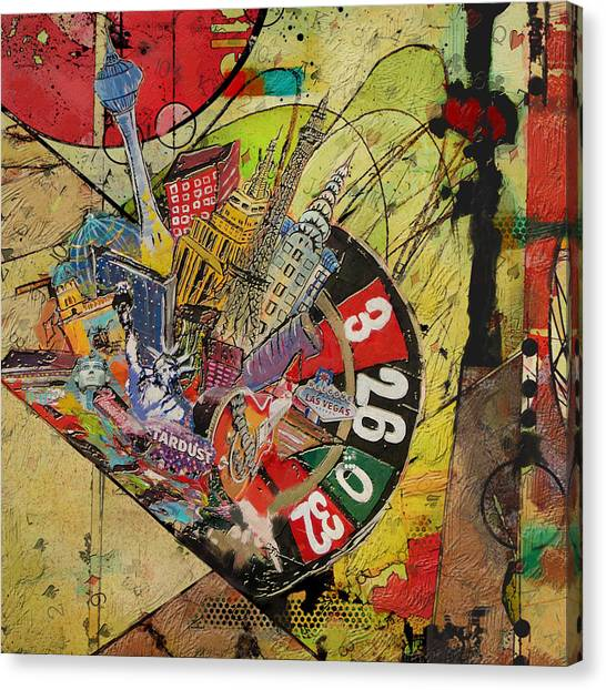 Sin Canvas Print - Las Vegas Collage by Corporate Art Task Force