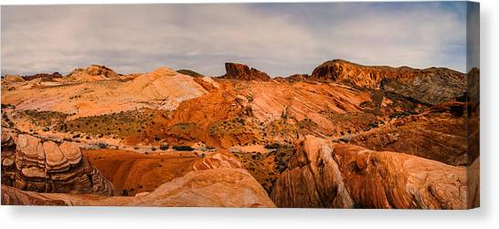 Valley Of Fire Canvas Print - Las Vegas Nevada Mojave Desert Valley Of Fire Panorama by Silvio Ligutti