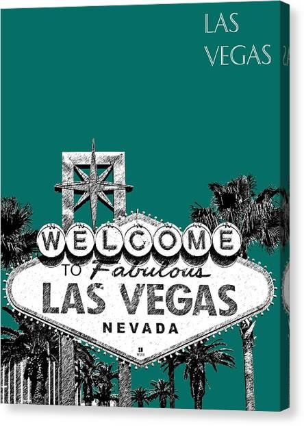 Pen Canvas Print - Las Vegas Welcome To Las Vegas - Sea Green by DB Artist