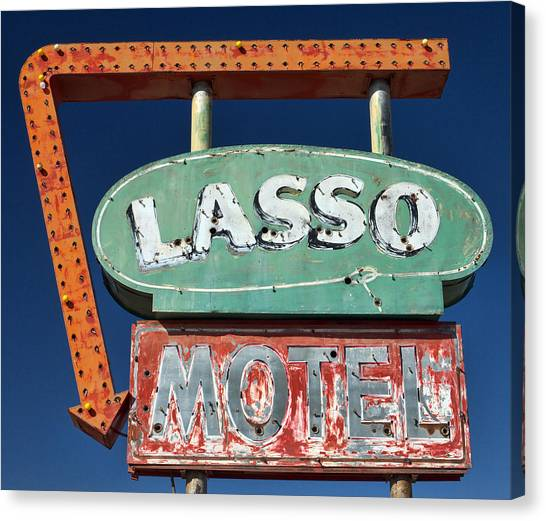 Cowboy Canvas Print - Lasso Motel Sign On Route 66 by Carol Leigh