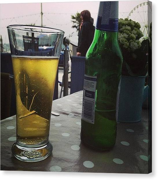 Lager Canvas Print - A Beer In Torquay by Anne Szadorska
