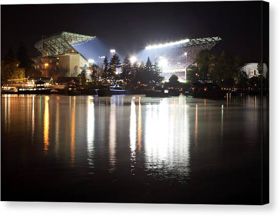 University Of Washington Canvas Print - Last Game At The Old Husky Stadium by Max Waugh
