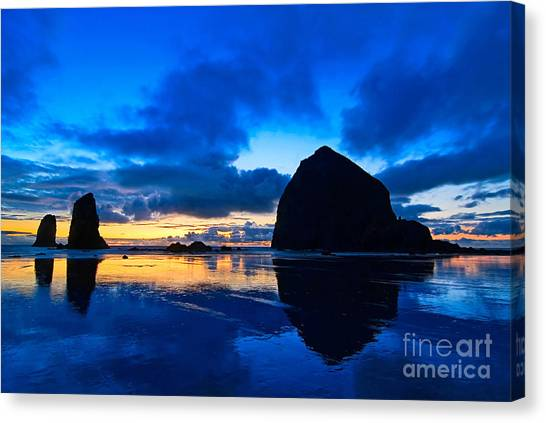 Thunderclouds Canvas Print - Last Light - Cannon Beach Sunset With Reflection In Oregon The Coast by Jamie Pham