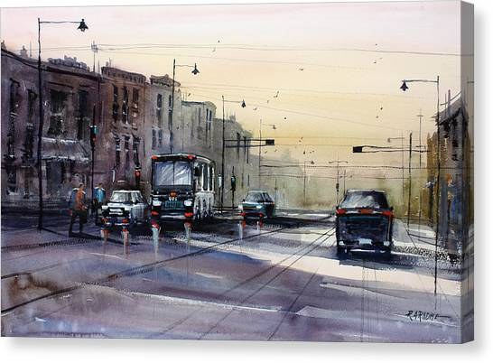 Street Scenes Canvas Print - Last Light - College Ave. by Ryan Radke