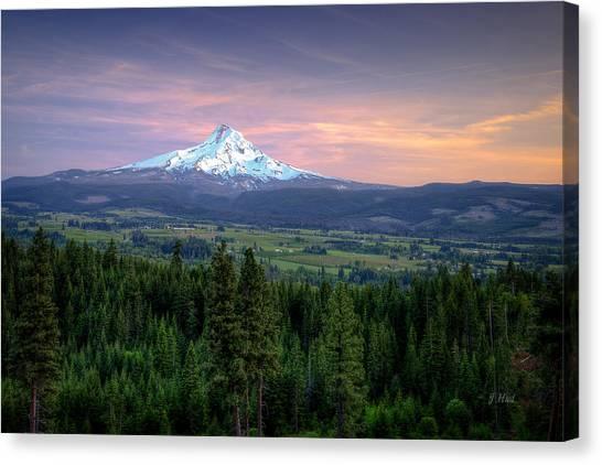Last Light On Mt. Hood Canvas Print by Joe Hudspeth