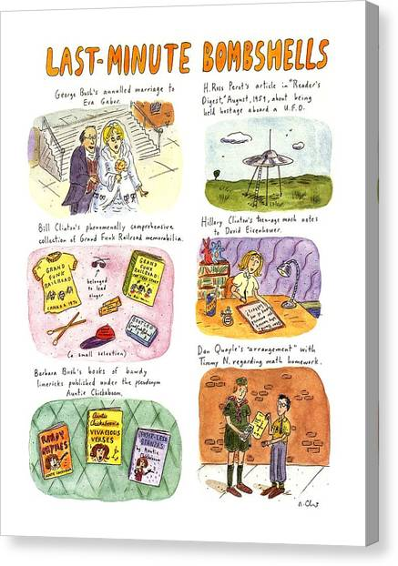 Bill Clinton Canvas Print - Last-minute Bombshells by Roz Chast