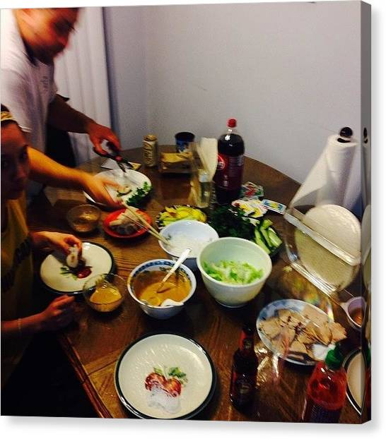 Vietnamese Canvas Print - Last Night Dinner Table.  #homemade by Timmy Tran