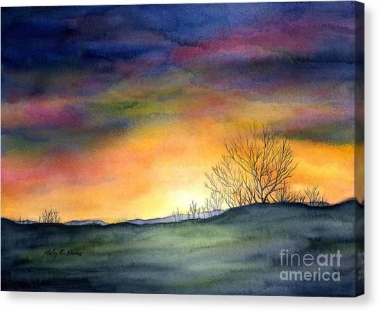Winter Scenery Canvas Print - Last Night by Hailey E Herrera