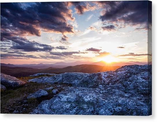 Last Rays. Sunset On Foss Mountain. Canvas Print