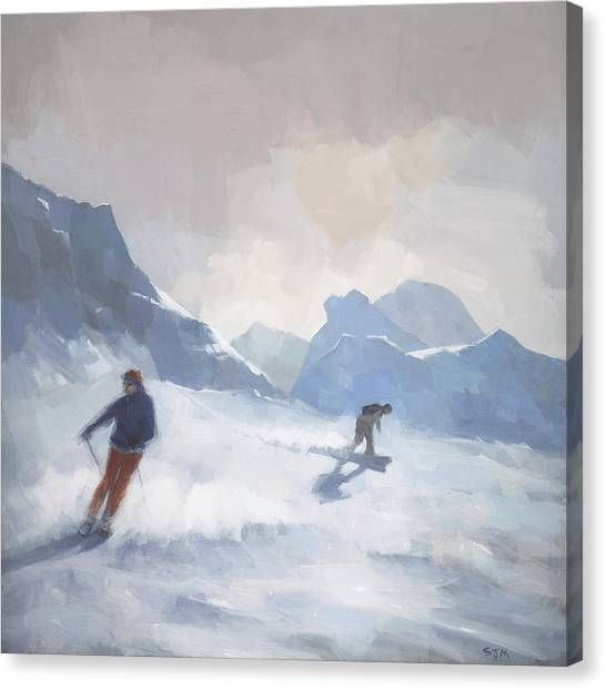 Ski Canvas Print - Last Run Les Arcs by Steve Mitchell