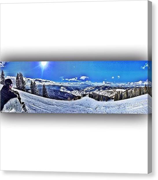Snowboarding Canvas Print - Last Runs Of The Trip With My Road Dawg by Jason Spiewak