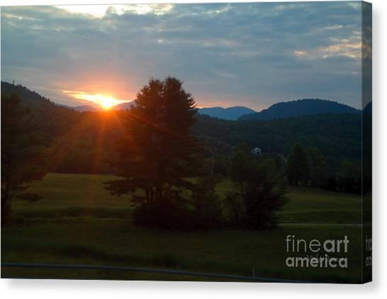 Violeta Canvas Print - Last Sun Rays Over The Adirondack  Mountain by Violeta Ianeva