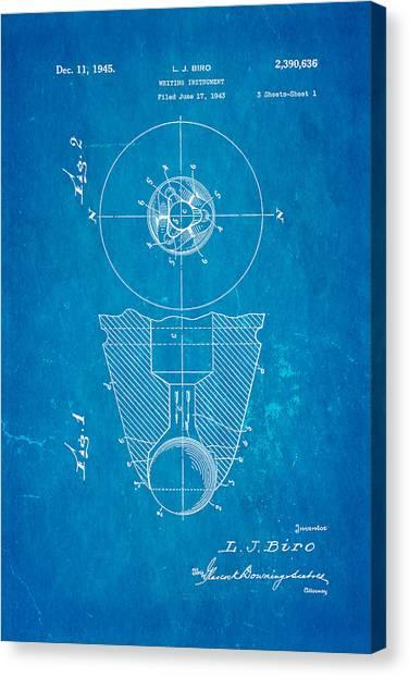 Ballpoint Pens Canvas Print - Laszlo Biro Ballpoint Pen Patent Art 1945 Blueprint by Ian Monk