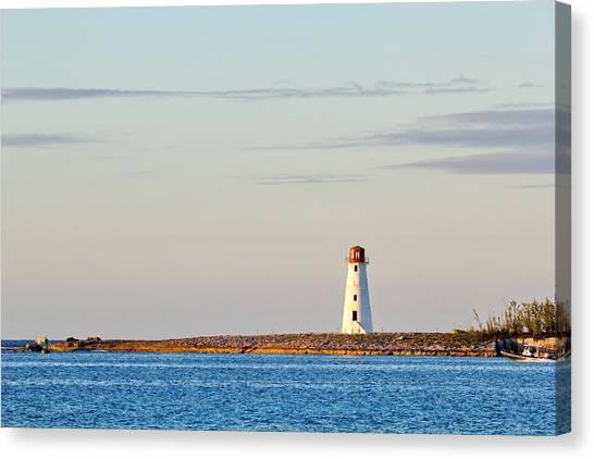 Late Afternoon At Hog Island Lighthouse On Paradise Island Baha Canvas Print