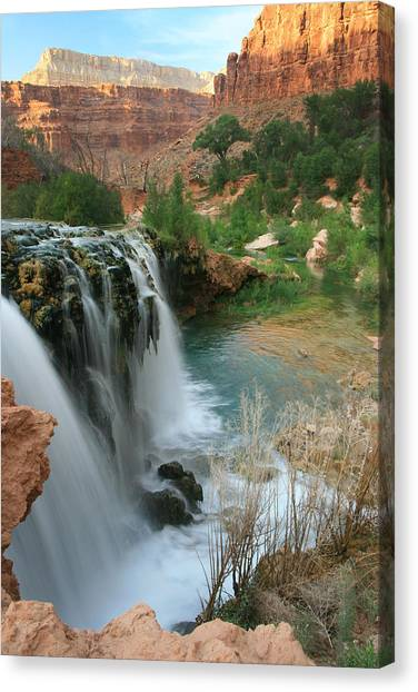 Late Afternoon At Little Navajo Falls  Canvas Print