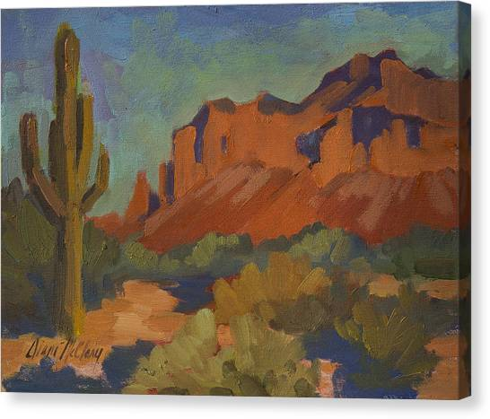 Cactus Canvas Print - Late Afternoon Light At Superstition Mountain by Diane McClary