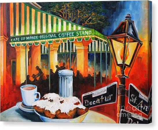 Cafes Canvas Print - Late At Cafe Du Monde by Diane Millsap