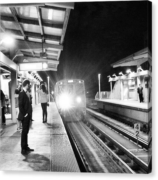 Head Canvas Print - Late Night On The Red Line by Jill Tuinier