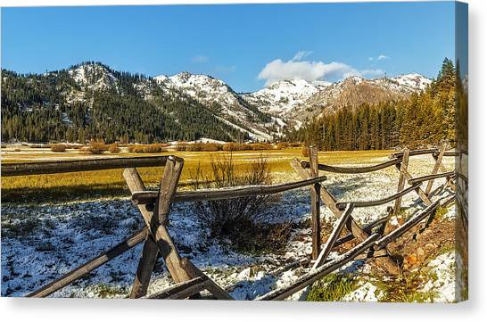 Late Spring Snow At Squaw Canvas Print by Nancy Marie Ricketts