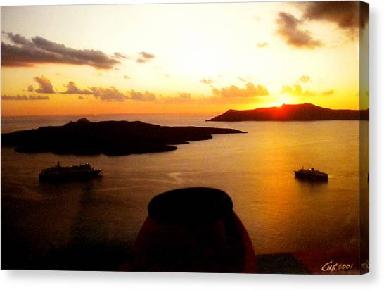 Late Sunset Santorini  Island Greece Canvas Print
