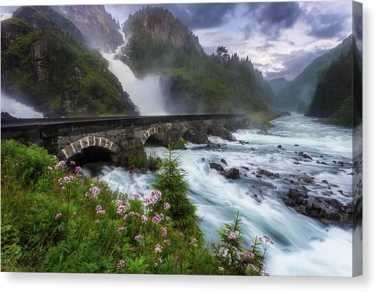 Mountain Cliffs Canvas Print - La?tefossen by Arvid Bj?rkqvist