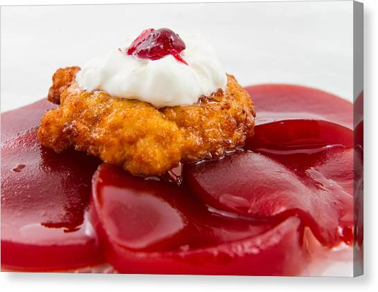 Cranberry Sauce Canvas Print - Latke On Jellied Cranberry Sauce by Mason Resnick