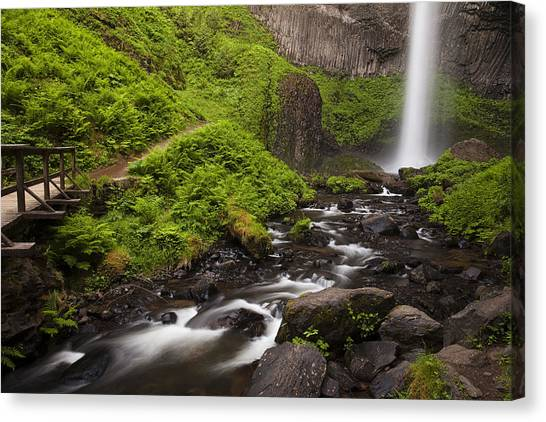 River Canvas Print - Latourell Falls And Rapids by Andrew Soundarajan