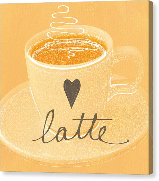Peaches Canvas Print - Latte Love In Orange And White by Linda Woods