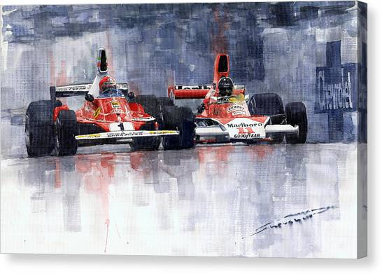 Sports Cars Canvas Print - Lauda Vs Hunt Brazilian Gp 1976 by Yuriy Shevchuk