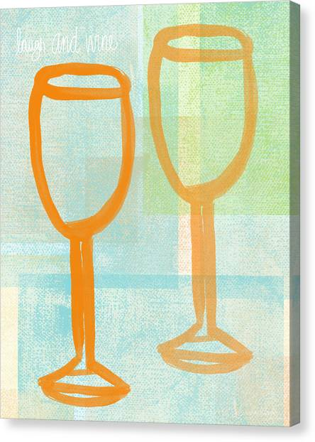 Wine Art Canvas Print - Laugh And Wine by Linda Woods
