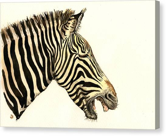 Nature Study Canvas Print - Laughing Zebra by Juan  Bosco