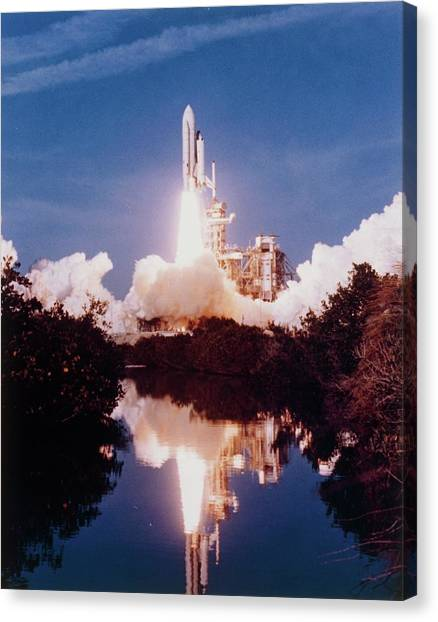 Space Shuttle Canvas Print - Launch Of First Space Shuttle Sts-1 by Nasa/science Photo Library