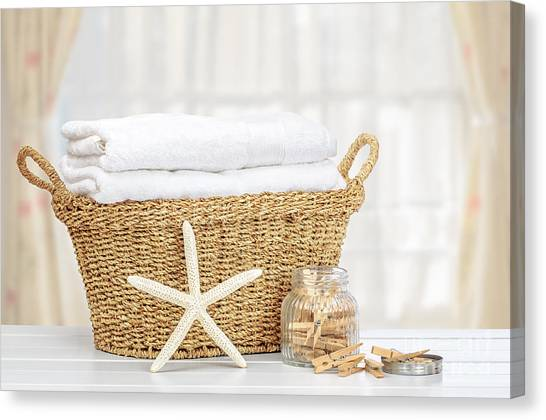 Utility Canvas Print - Laundry Basket by Amanda Elwell
