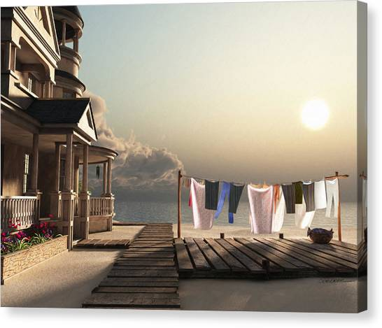 Horizontal Canvas Print - Laundry Day by Cynthia Decker