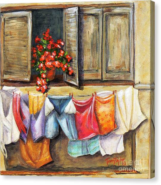 Laundry Day In The Villa Canvas Print