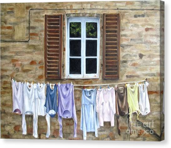 Laundry Day In Tuscany Canvas Print by Karen Olson