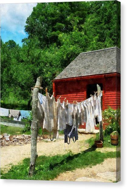 Laundry Hanging On Line Canvas Print