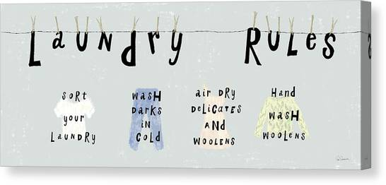 Instructions Canvas Print - Laundry Rules I by Sue Schlabach
