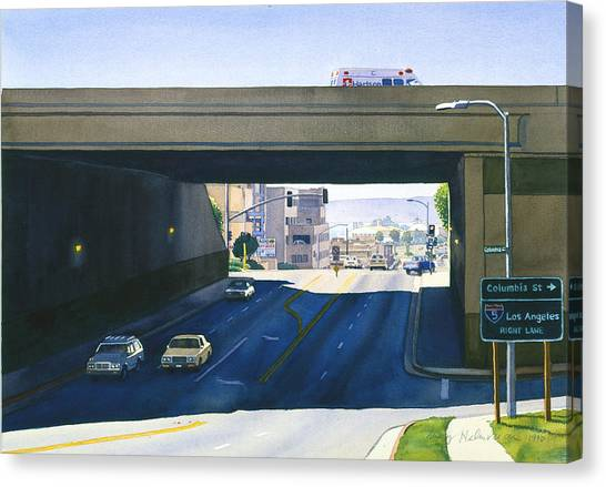 Laurel Street Bridge San Diego Canvas Print by Mary Helmreich