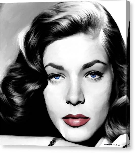 Lauren Bacall Large Size Portrait Canvas Print