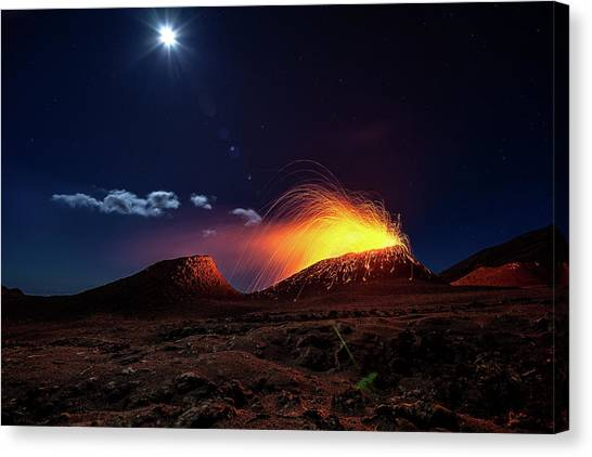 Lava Canvas Print - Lava Flow With The Moon by Barathieu Gabriel