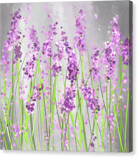 Lavender Blossoms - Lavender Field Painting Canvas Print