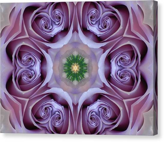 Lavender Rose Mandala Canvas Print