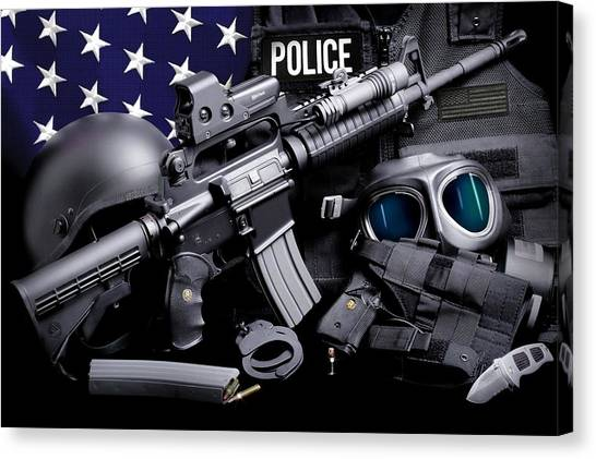 Law Enforcement Canvas Print - Law Enforcement Tactical Police by Gary Yost