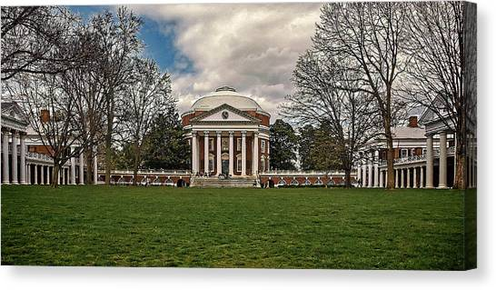 Lawn And Rotunda At University Of Virginia Canvas Print