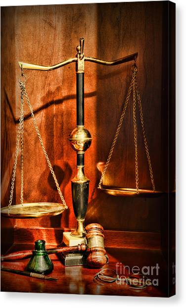 Pac 12 Canvas Print - Lawyer - Scales Of Justice by Paul Ward