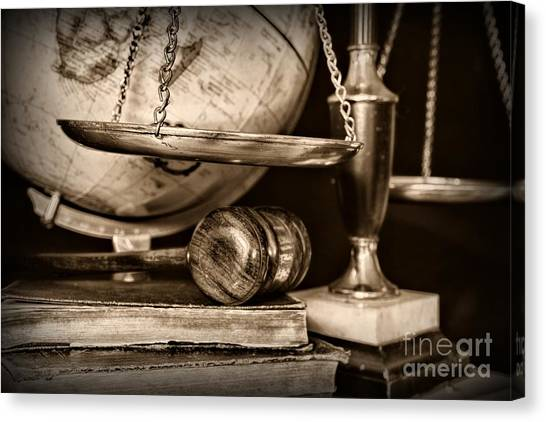 Ward Canvas Print - Lawyer The Scales Of Justice In Black And White by Paul Ward