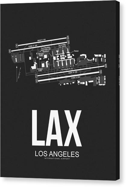 Airports Canvas Print - Lax Los Angeles Airport Poster 3 by Naxart Studio
